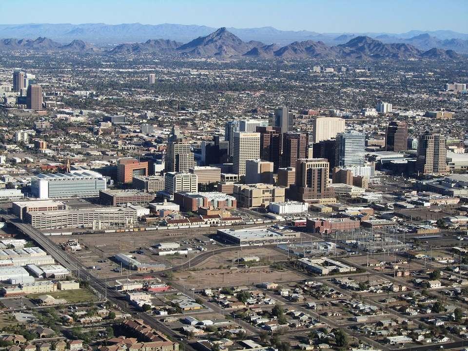 Vista aérea del centro de Phoenix, Arizona