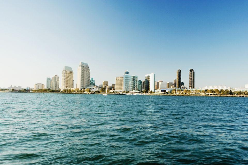 Panoramic view of downtown San Diego from Coronado Island, San Diego, California, USA