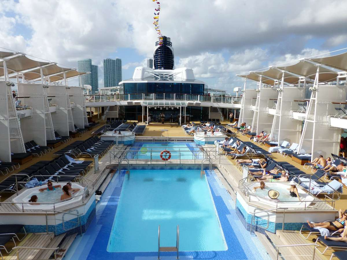 Outdoor swimming pool on the Celebrity Reflection