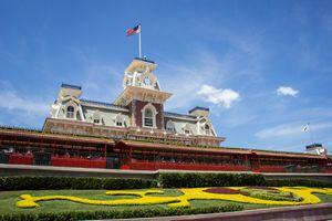 The Main Street Walt Disney World railroad station at the Magic Kingdom in Disney World