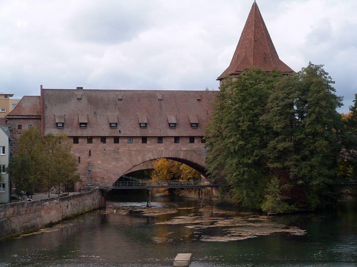 Bridge over river in Old Town Nuremberg, Germany
