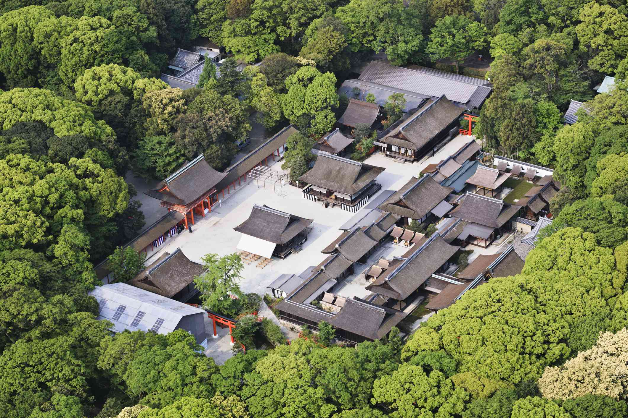Aerial view of Shimogamo shrine and forest