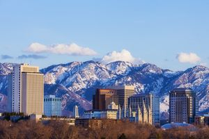 Skyline of Salt Lake City, Utah, USA in early spring as the sun sets.