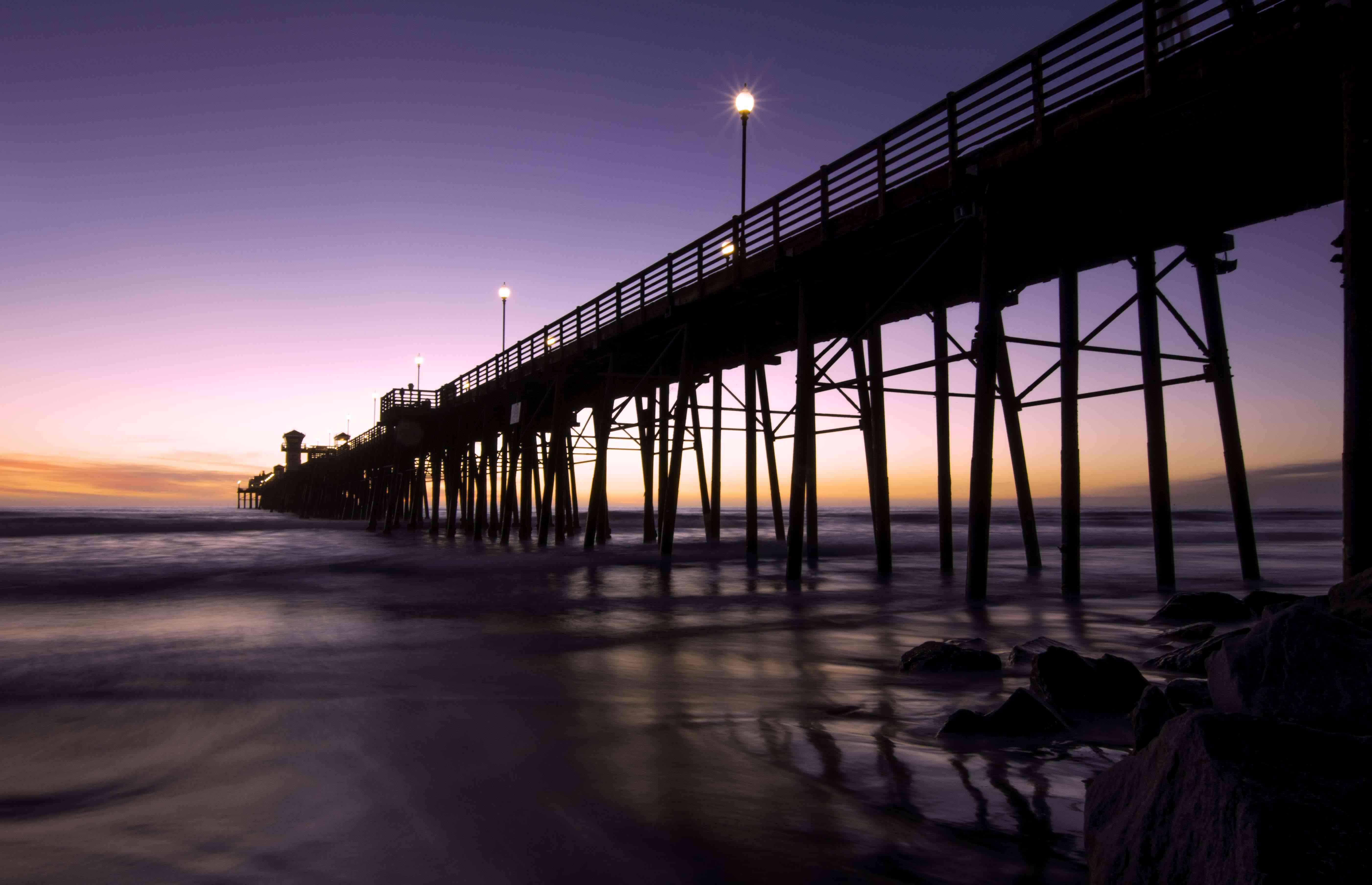 The pier in Oceanside, California at nigh