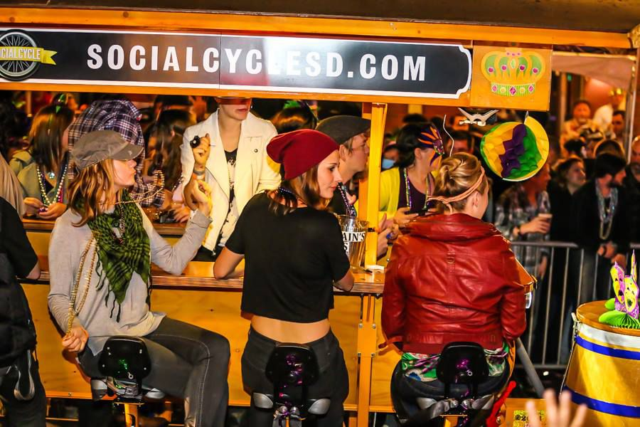 Women at bar durring San Diego Mardi Gras