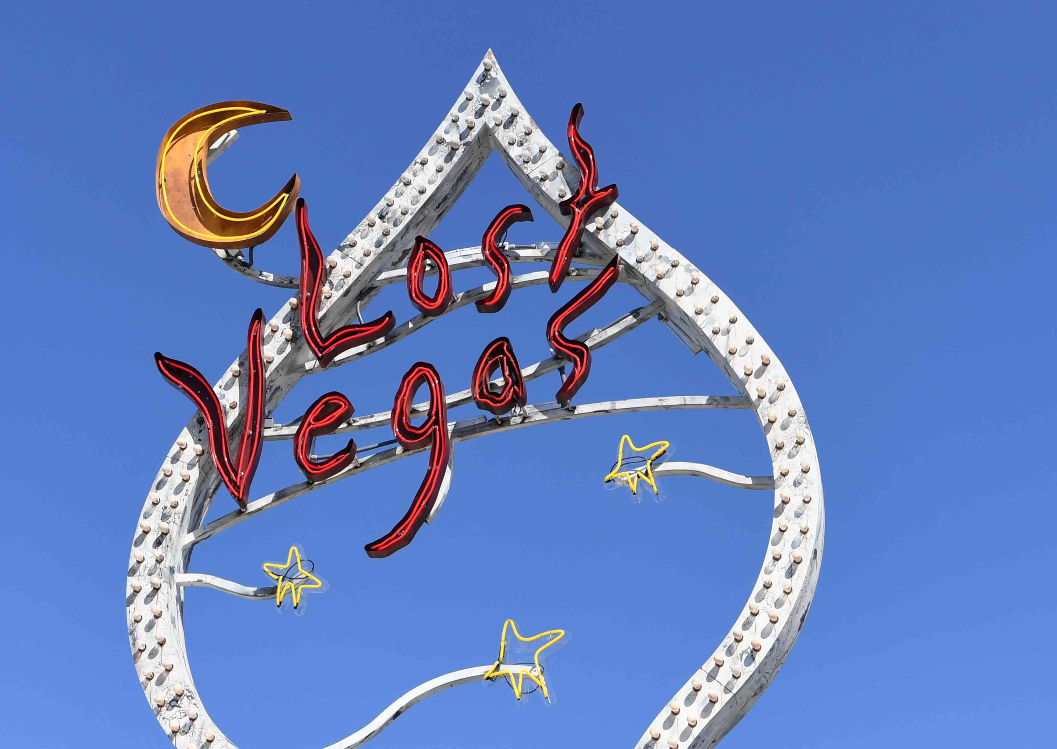 Neon sign in front of Neon Museum in Vegas