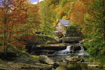 Glade Creek Grist Mill nostalgia blazing autumn colors West Virginia