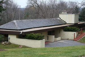 The Thomas Keys House, designed by Frank Lloyd Wright, as seen from Skyline Drive in Rochester, Minnesota