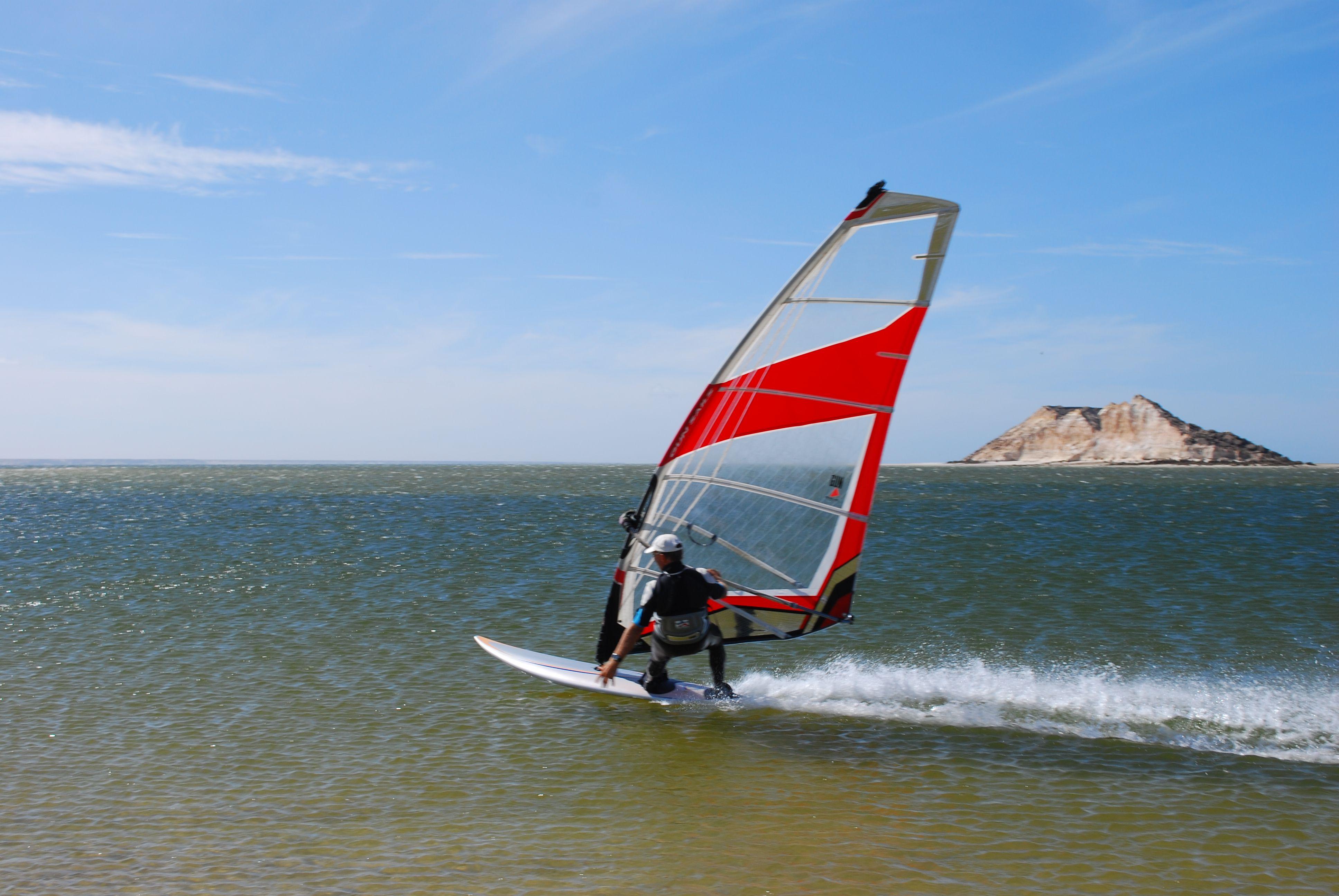 Windsurfer in front of Dragon Island, Dakhla