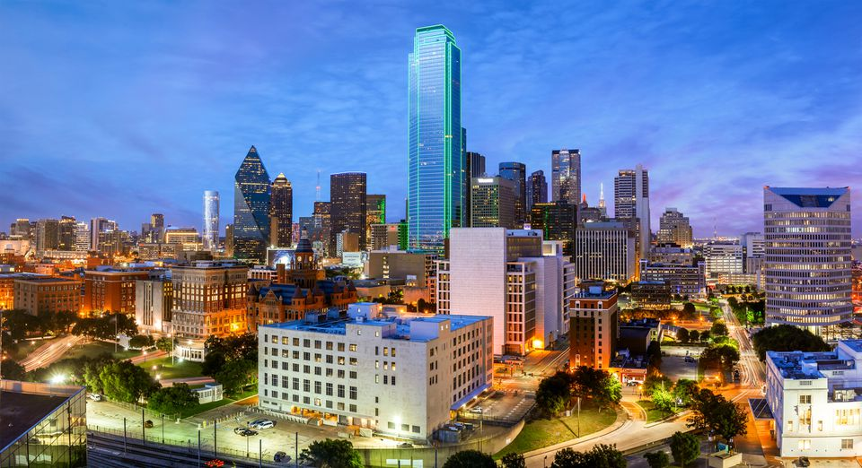 Dallas Skyline, Bank of America Building, Blue Hour, Dallas, Texas, America