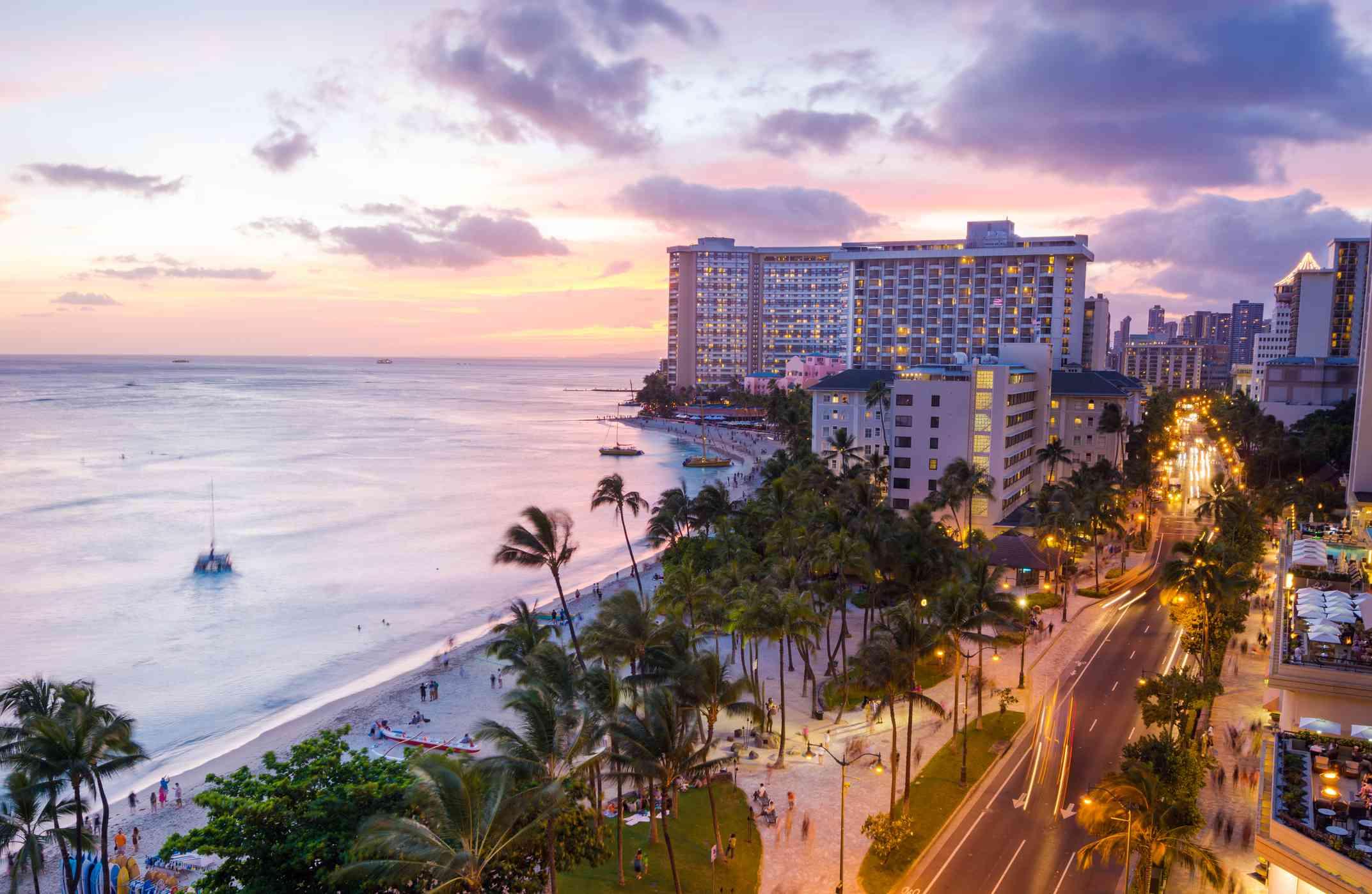 Kalakaua Avenue in Waikiki, Oahu