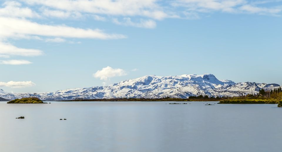 Thingvallavatn Lake With Mountain Range Background, Iceland