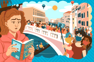 Illustration of woman worried about crowds in Venice