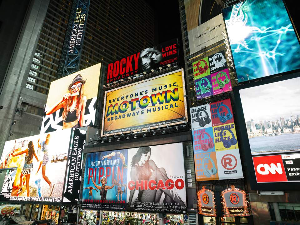 Broadway theater billboards, New York City