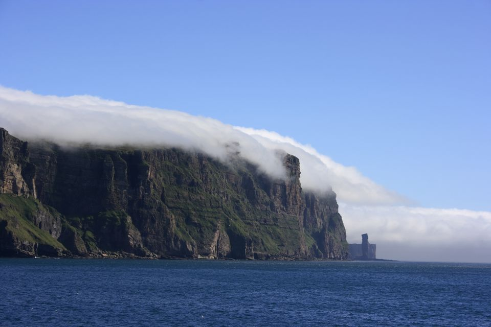 Sea haar on the Old Man of Hoy, Orkney