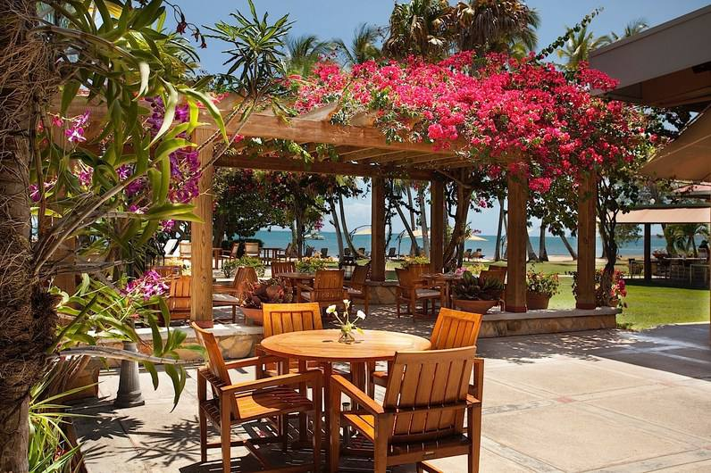 Pergola and tables and chairs