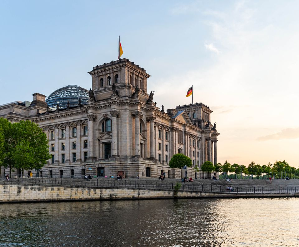 View of the reichstag from the river