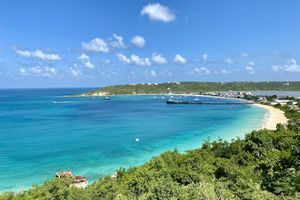 Overlooking a bay filled with clear blue water in Anguilla