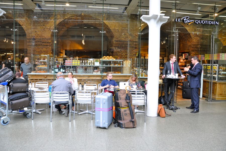 Le Pain Quotidien at London St Pancras offers travelers space to perch and enjoy a meal before catching their train.