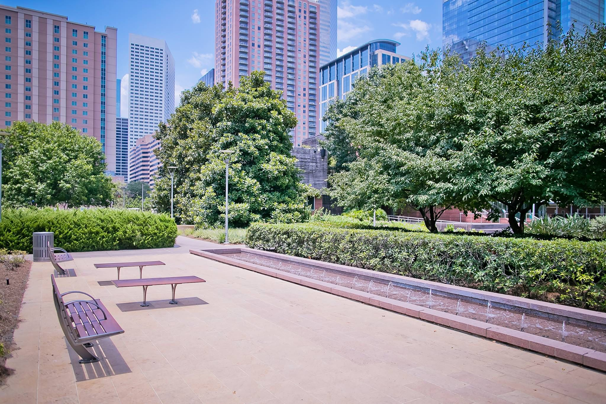 benches in Discovery Green park