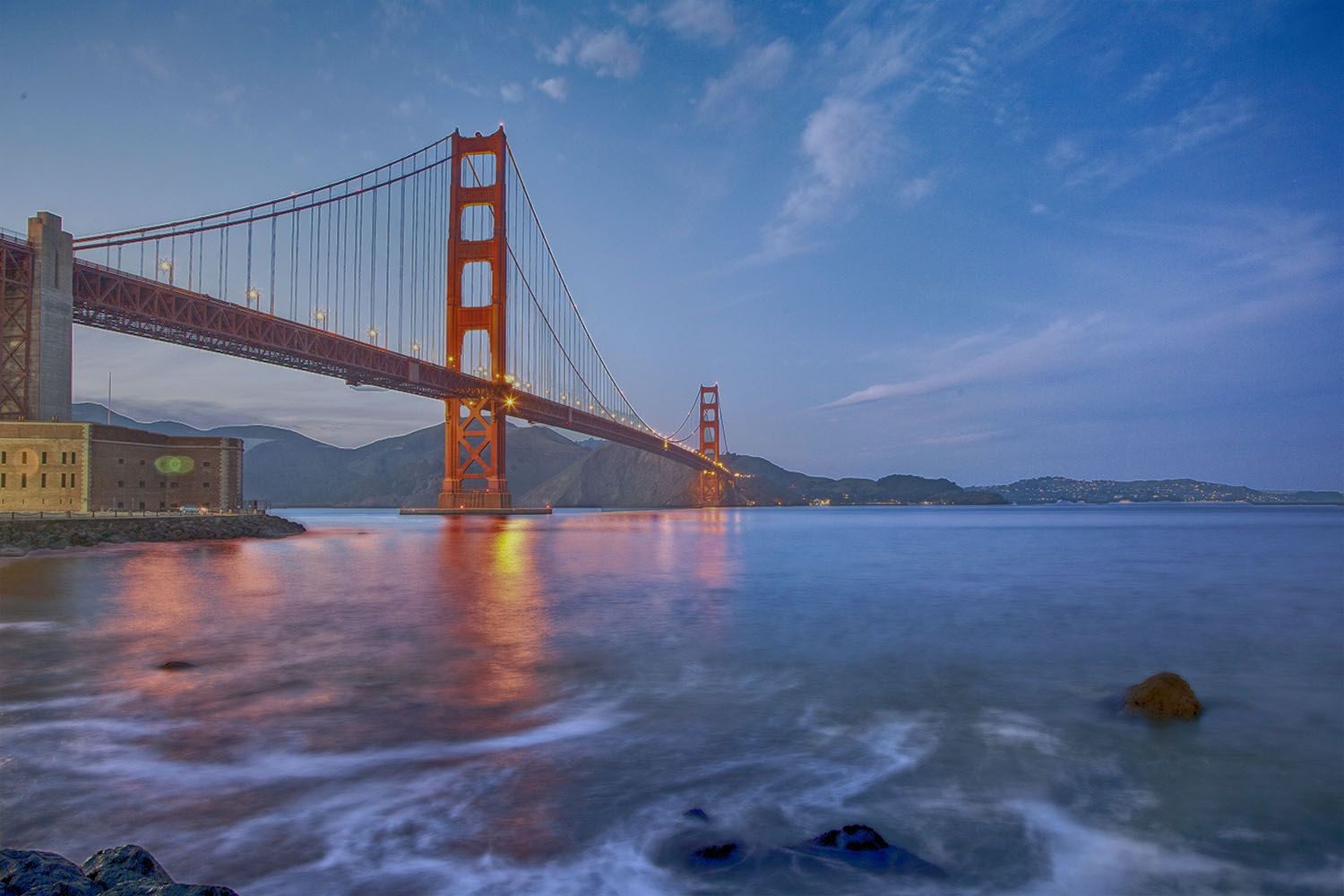 Golden Gate Bridge from Fort Point at Twilight