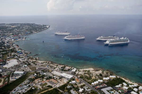 Aerial View Cruise Ships at Anchor