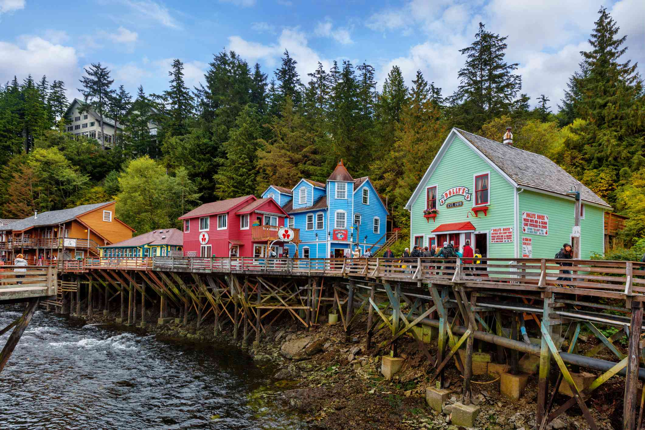 Small, colorful buildings on wooden stilts