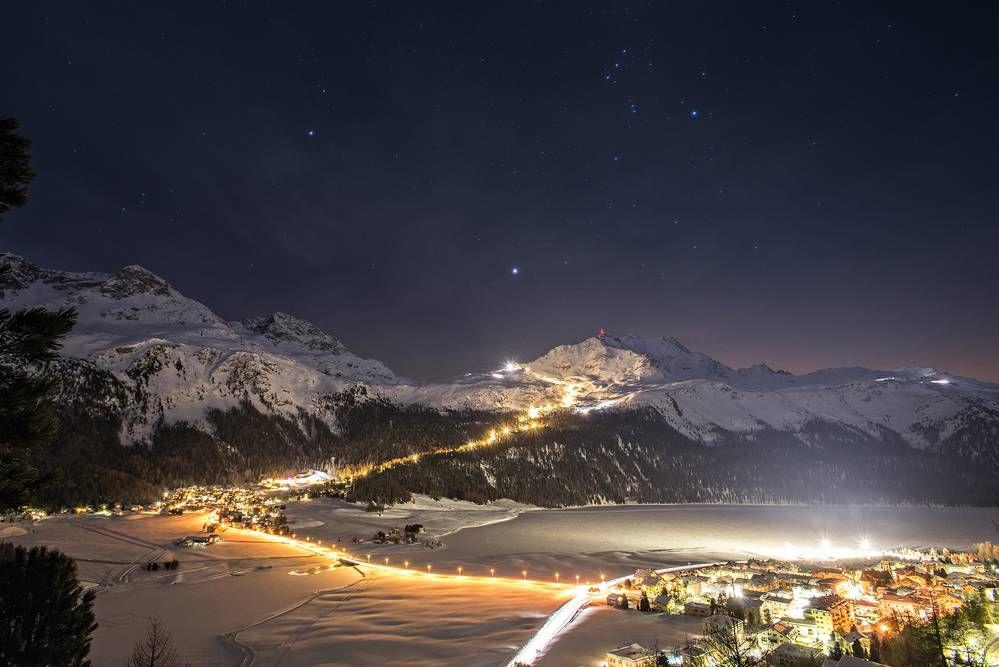 Night skiing on Corvatsch