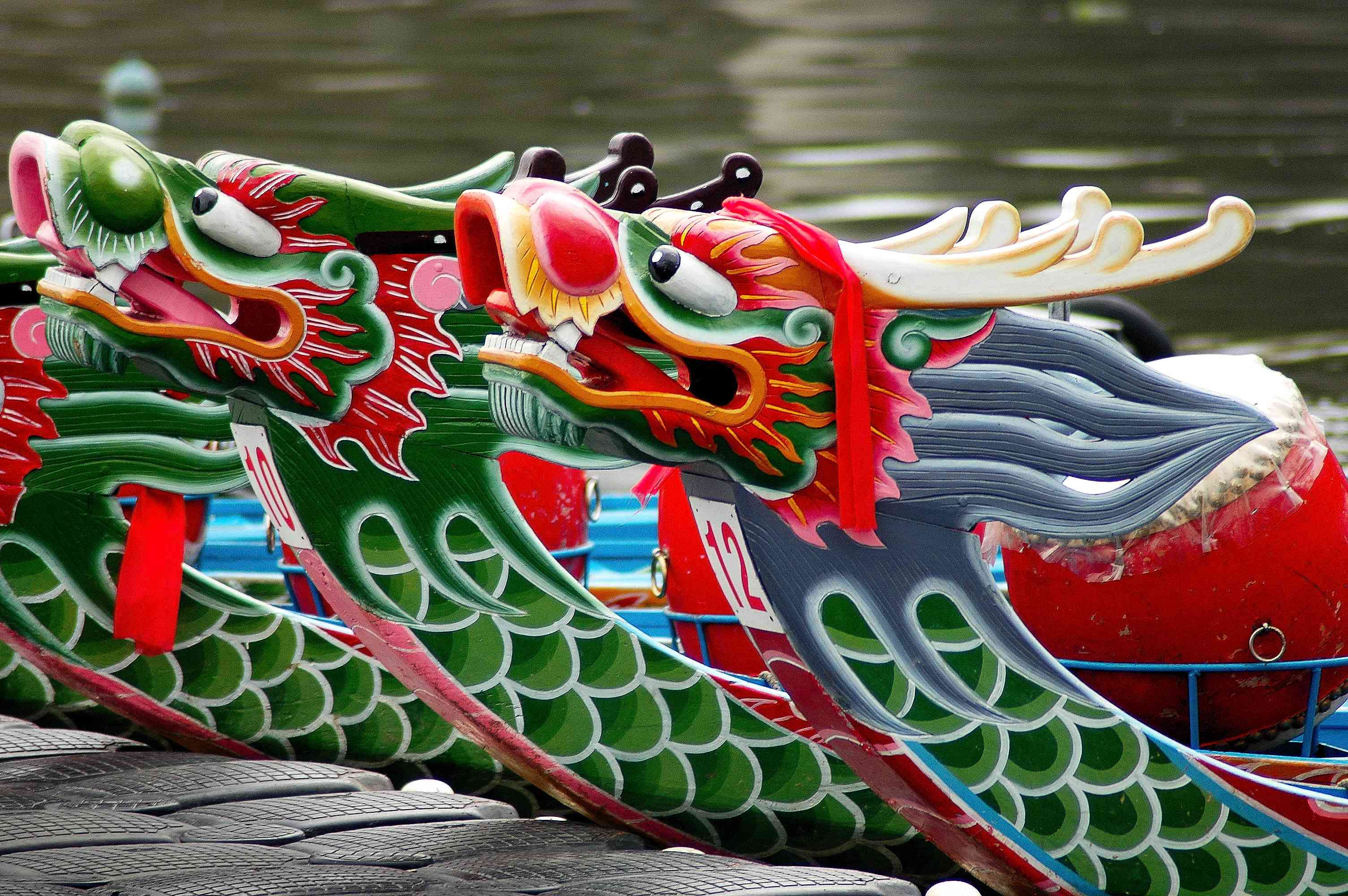 Colorful dragonboats from the dragonboat festival in Shanghai