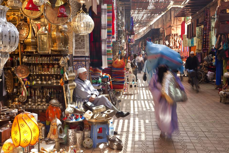 Street scene in one of the Marrakesh medina souks