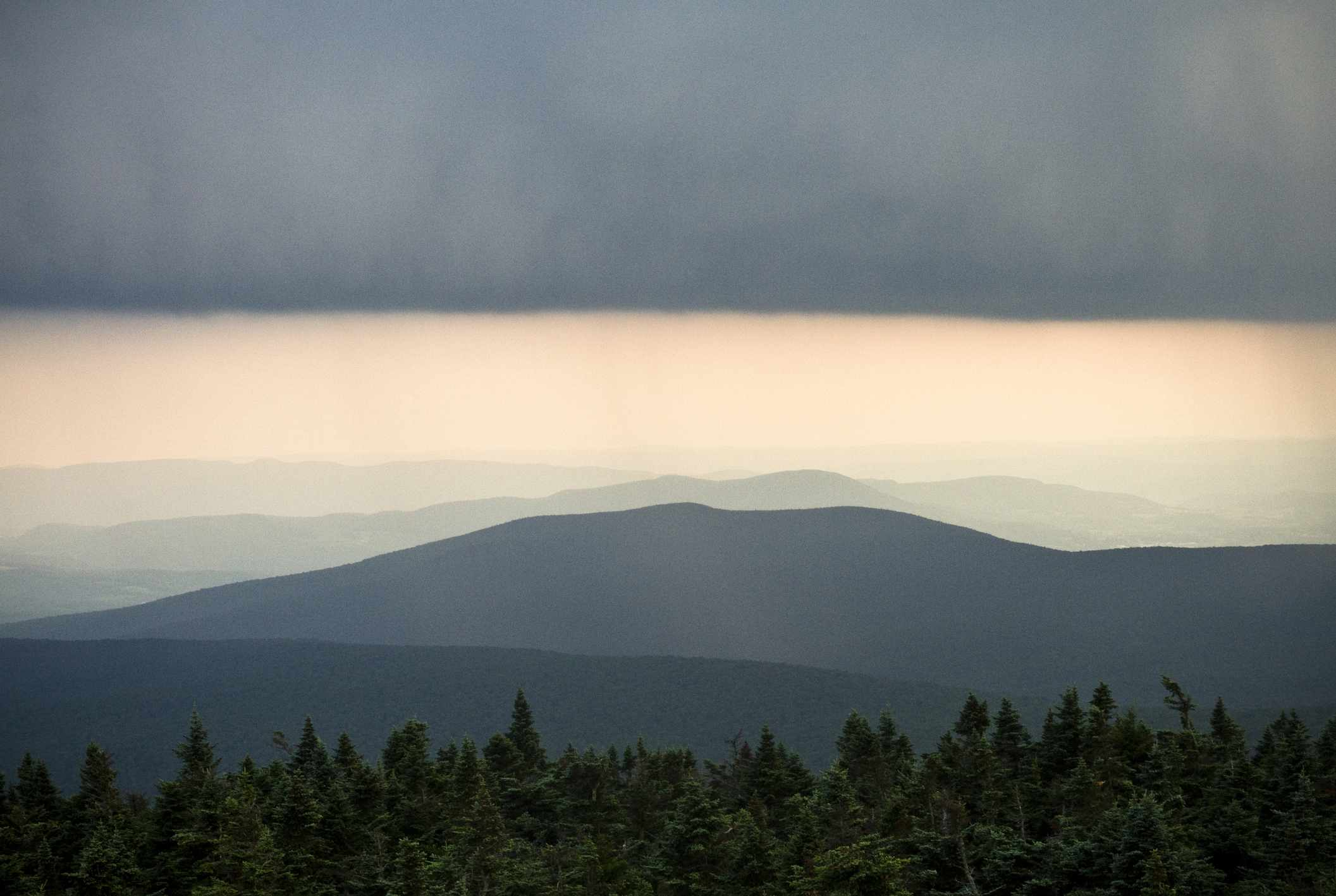 A storm passes over the Appalachian Mountains in Vermont.