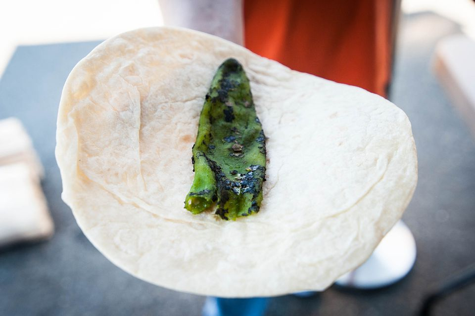 roasted chile on tortilla