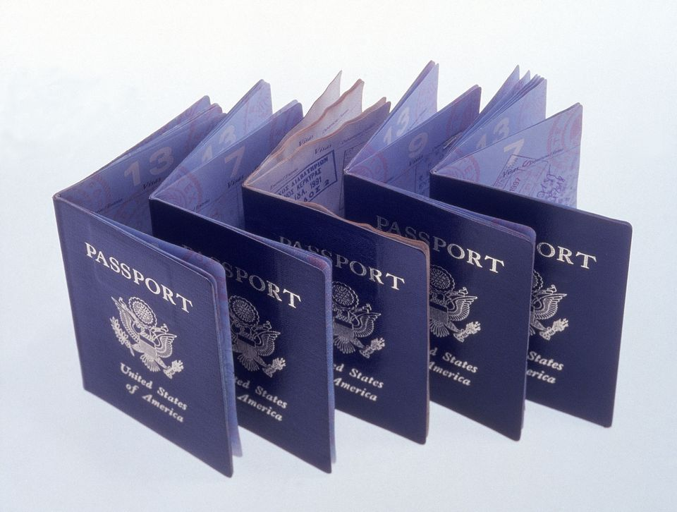 american passports lined up