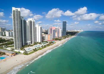 Aerial view of North Miami Beach - white sandy beach with clear blue tropical ocean waters, Aerial view, Miami, Florida