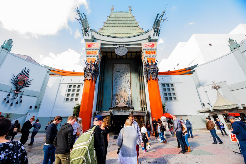 People standing outside of the Grauman's Chinese Theatre