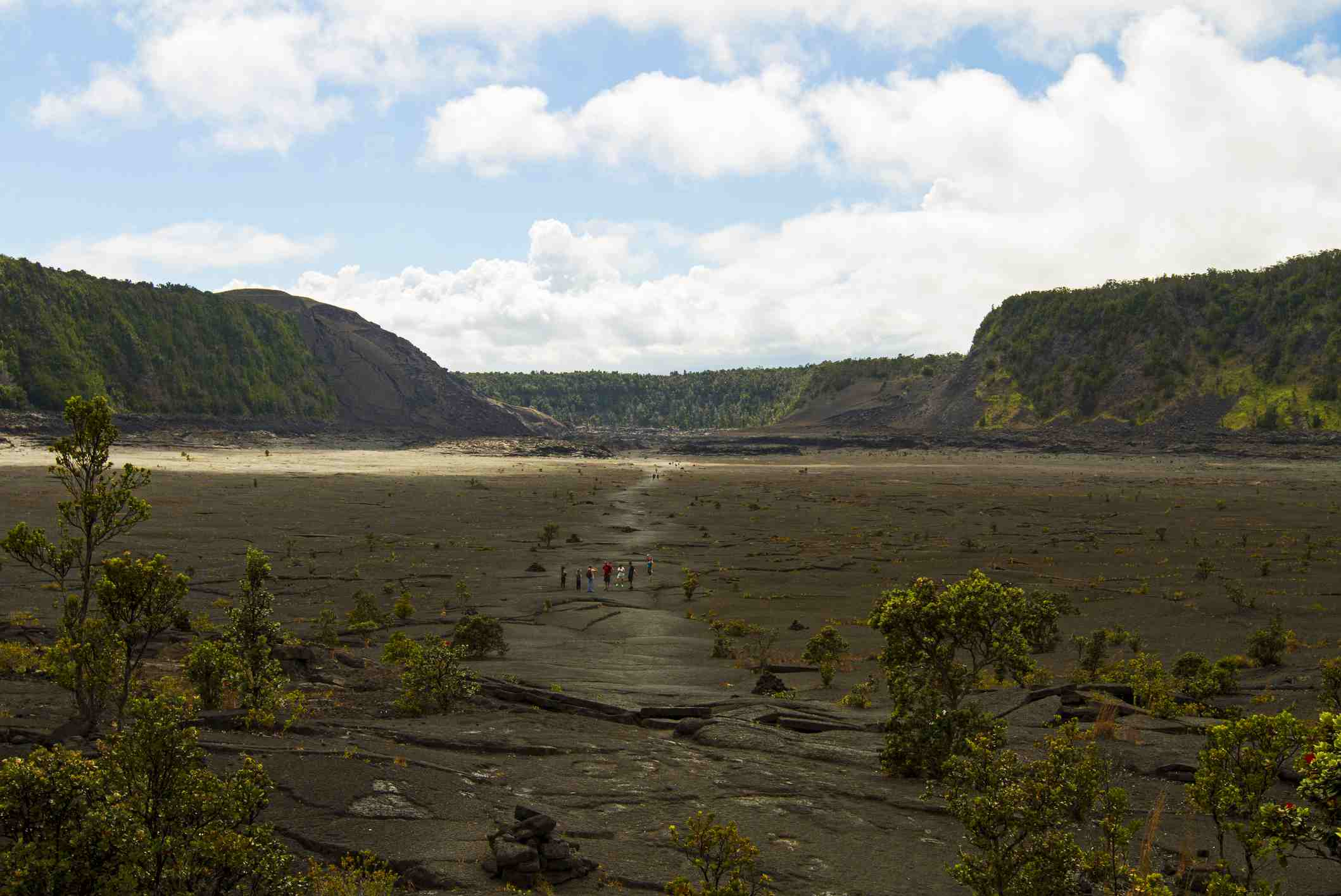 Old Lava Eruption Crater in Hawaii Volcanoes National Park