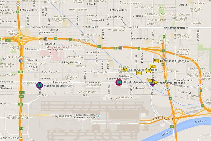 Map of Hotels on Phoenix Valley Metro Light Rail