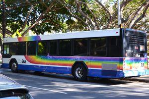 Bus with rainbow decoration