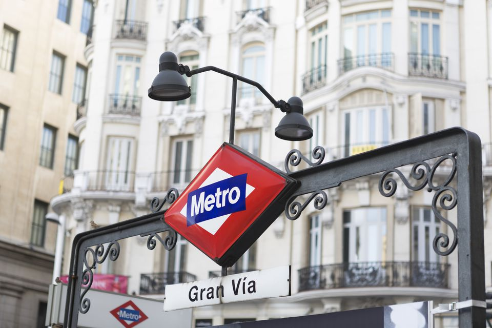 Metro signpost along Grand Via, Madrid.