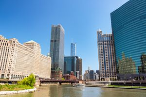 View of the Merchandise Mart, the Chicago river and other skyscrapers take from the River