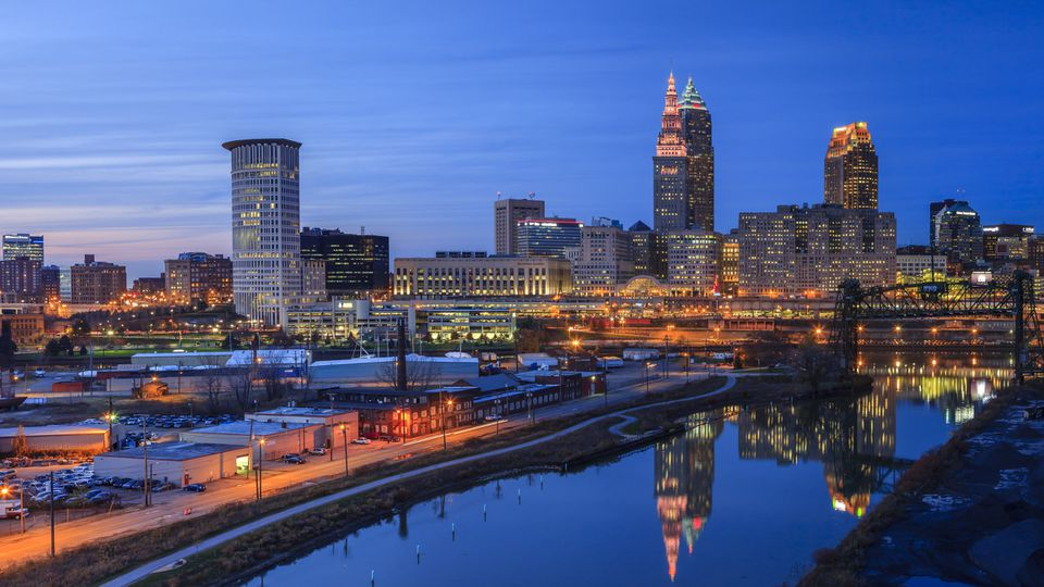 Cleveland Skyline View at blue hour from the Hope Memorial Bridge