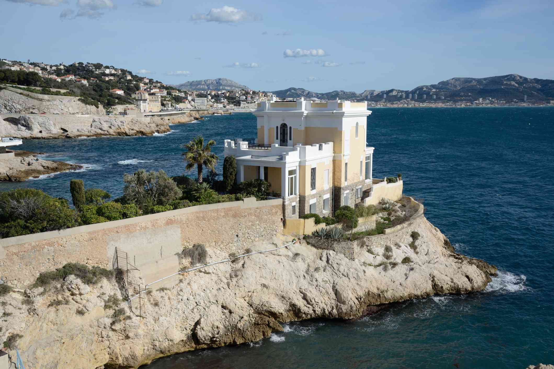 A villa seen from La Corniche boardwalk in Marseille