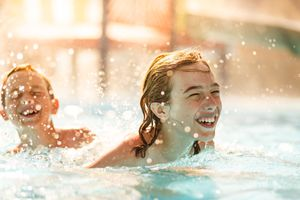 Kids laughing in the water