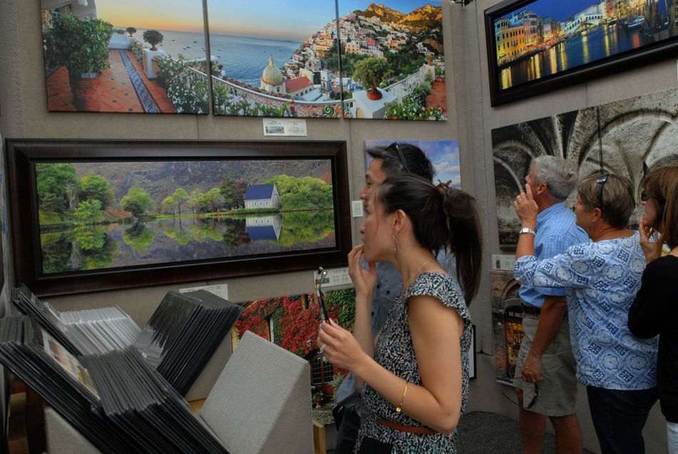 People viewing art at the Arlington Festival of the Arts