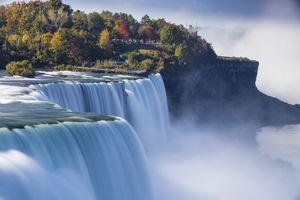Canada and USA, Ontario and New York State, Niagara, Elevated view of Niagara Falls