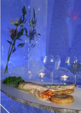 ice restaurant montreal le mont blanc snow village canada