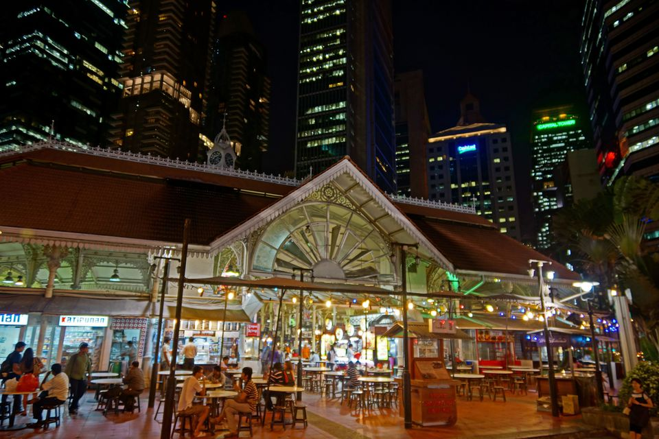 Lau Pa Sat market exterior at night
