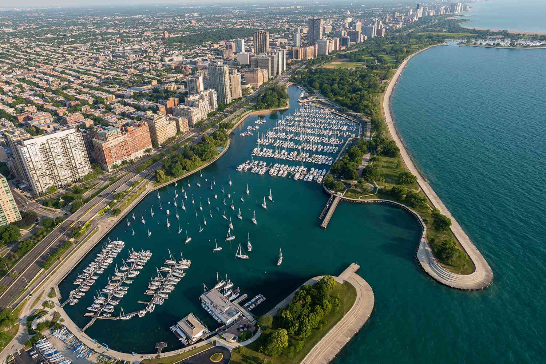 Overhead view of Belmont Harbor in Chicago