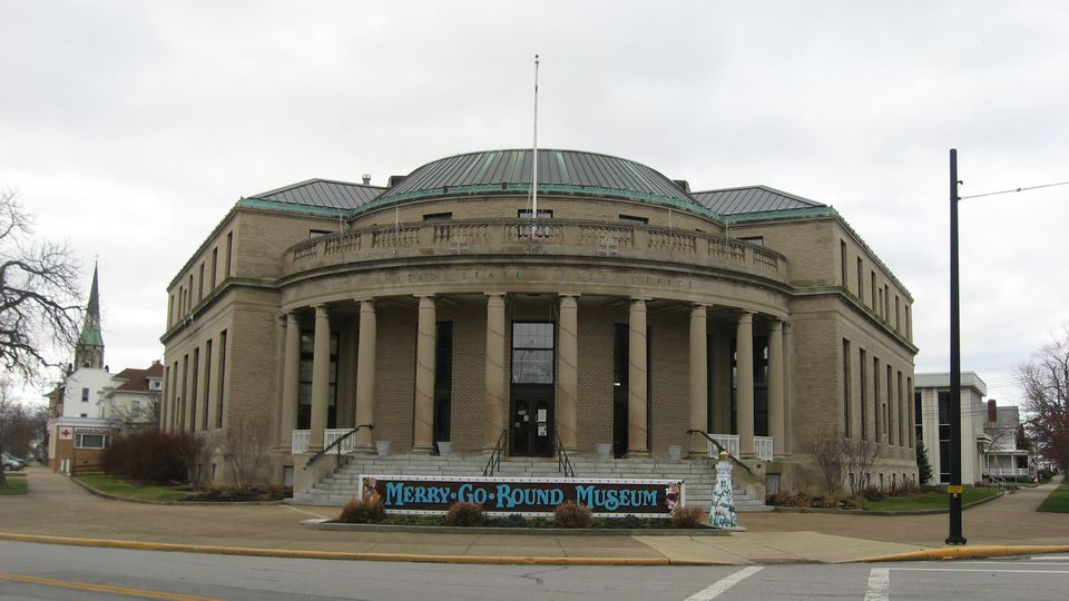 Front of the former Sandusky Post Office (now the Merry-Go-Round Museum), located at 301 Jackson Street in Sandusky, Ohio, United States. Built in 1927, it is listed on the National Register of Historic Places.