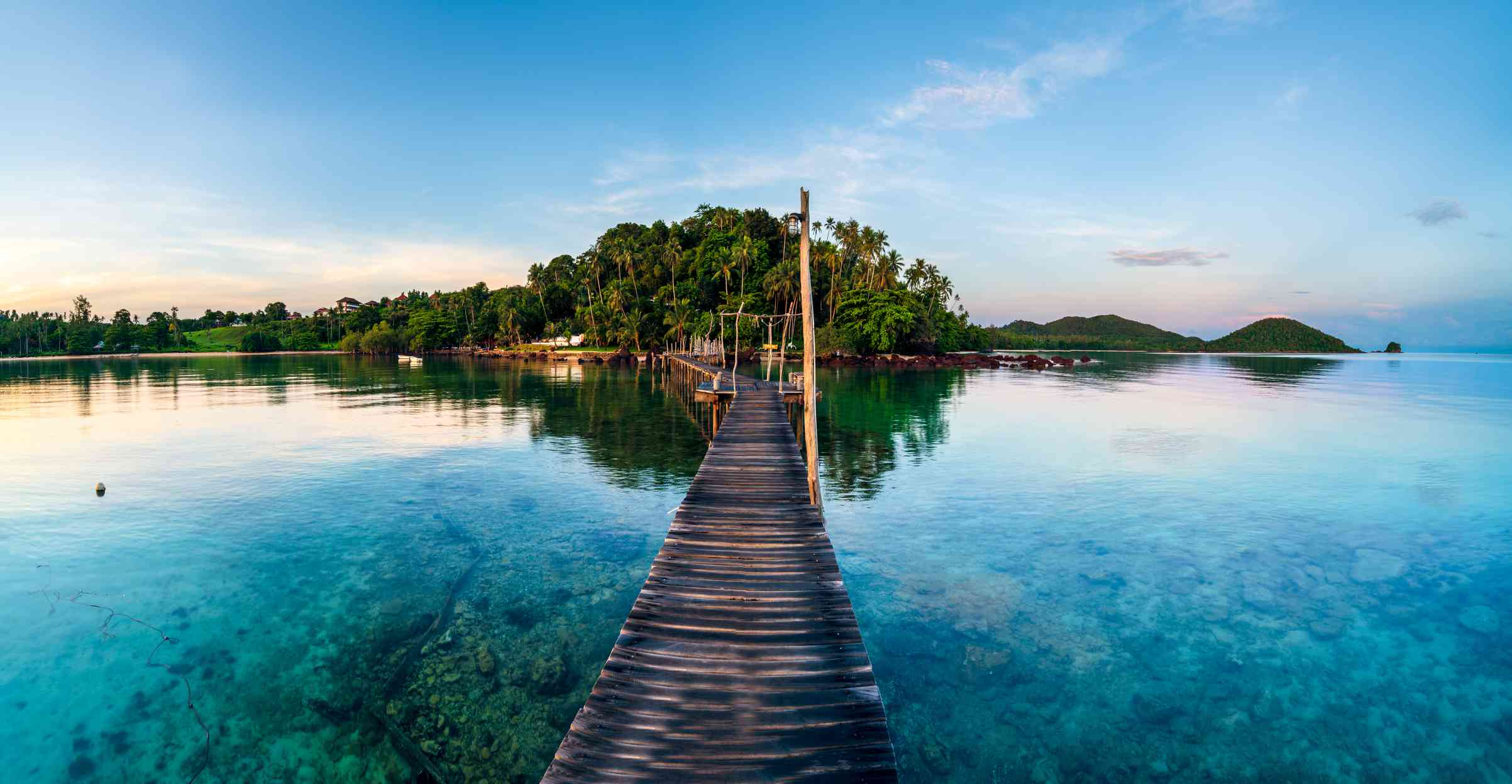Long wooden bridge in the sea at Koh Mak Island